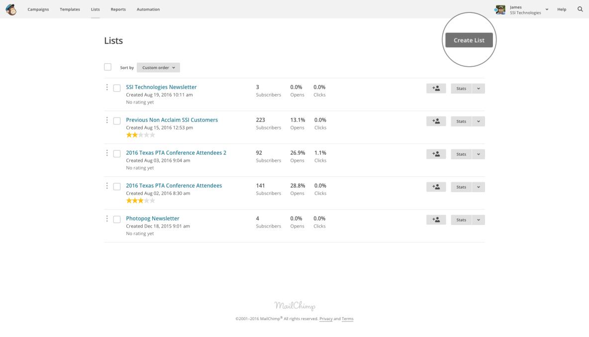 MailChimp admin screenshot with create list button highlighted