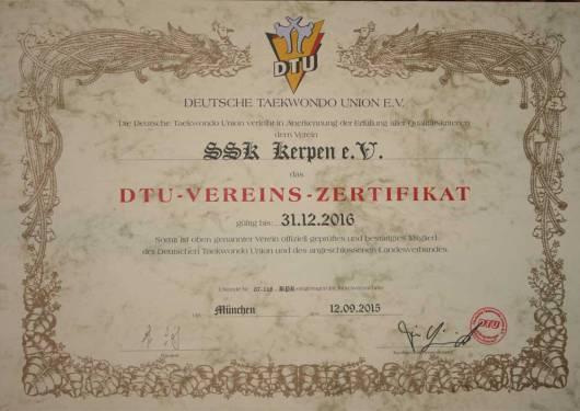 SSK-Taekwondo-Team: Das DTU-Verinszertifikat