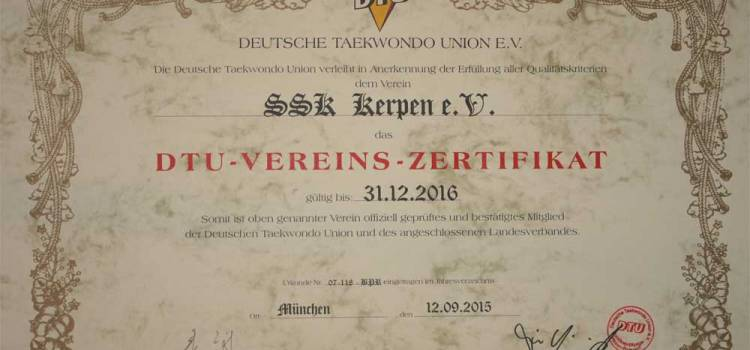 Taekwondo Kerpen: Das SSK-Taekwondo-Team ist von der DTU zertifiziert