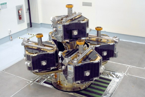The five THEMIS probes atop their probe carrier in the Astrotech cleanroom