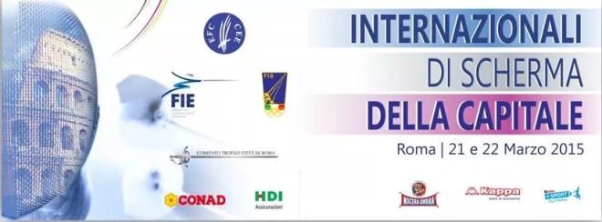 Locandina degli Internazionali di SCherma organizzati a Roma 21 e 22 marzo 2015
