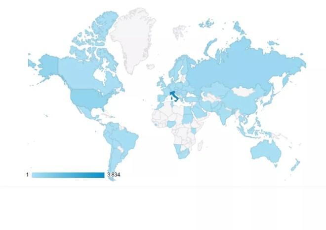 I contatti dall'estero sul nostro sito (da google analytics)