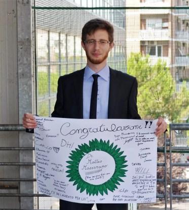 Matteo Mazzarano il giorno della laurea.