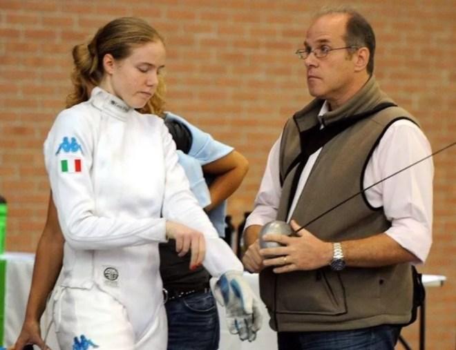 ravenna 10.10.2015 1^ prova di qualificazione Spada Femminile Susan Maria Sica con il suo papà Vincenzo (foto Bizzi per Federscherma)
