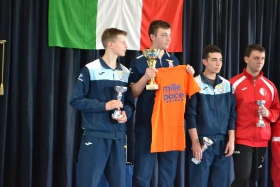 4/5.6.2016 Cassino Francesco Ercolani, Giosuè Testa e Lorenzo Sellati sul podio nella sciabola maschile (foto PaxCassino)