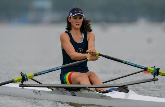 Zimbabwe's Daniella Du Toit competes in the Women's Single Sculls Rowing event at Nanjing 2014 Youth Olympic Games