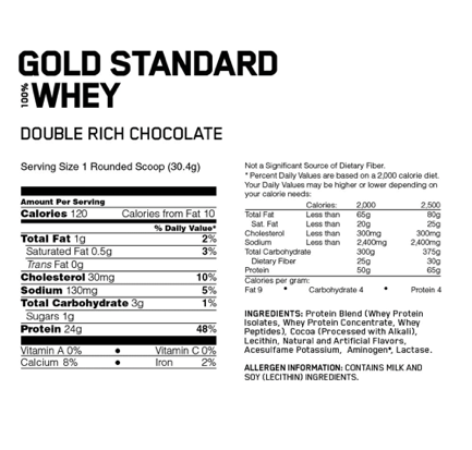 Gold-Standard-100%-Whey-supplement-facts