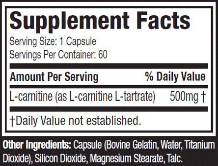Platinum-100%-L-Carnitine-nutritional-facts