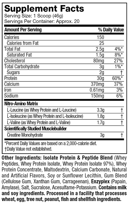 nitro-tech-nutritional-information