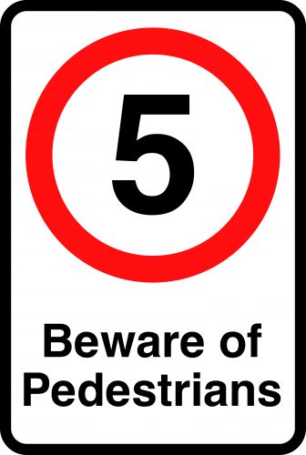 5mph Beware Of Pedestrians Sign  SSP Print Factory