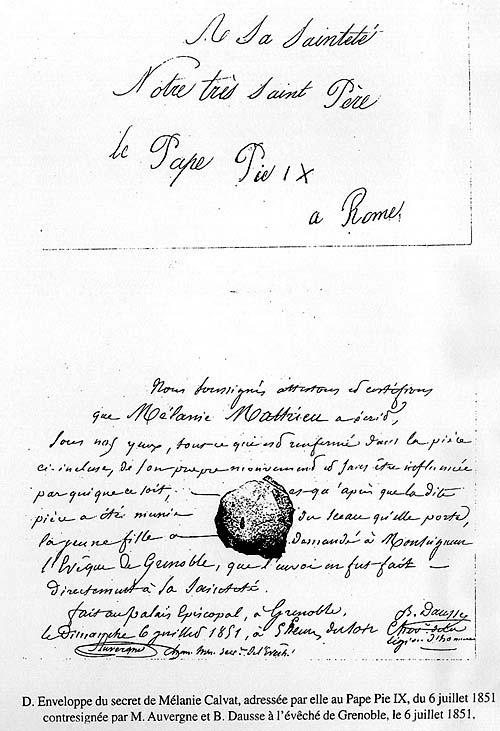 Secret de Mélanie Calvat - 1851