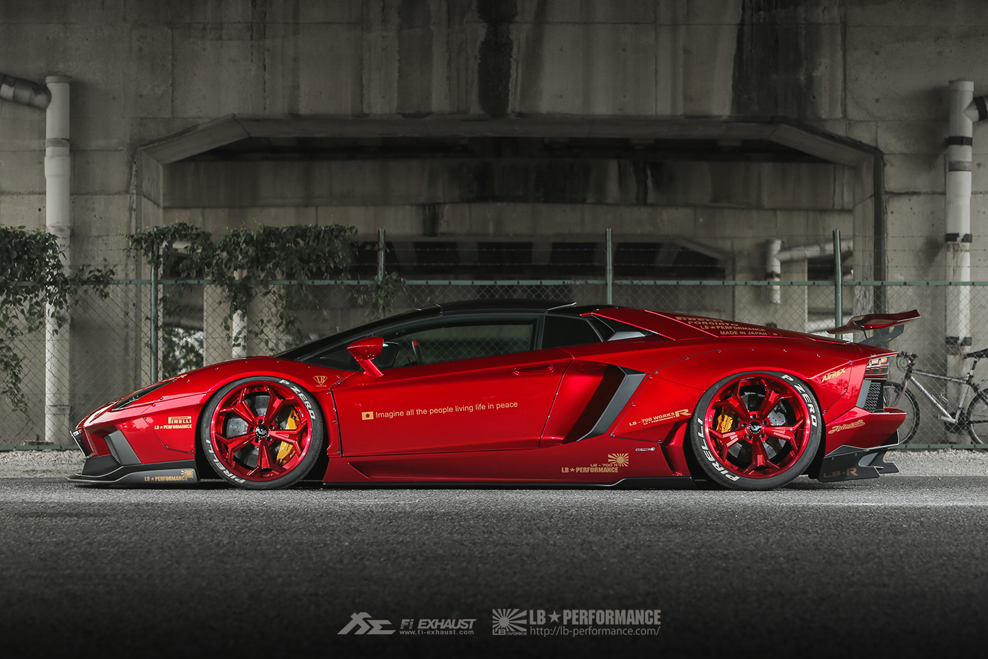 2 Bloody Red Liberty Walk Lamborghini Aventador Roadster