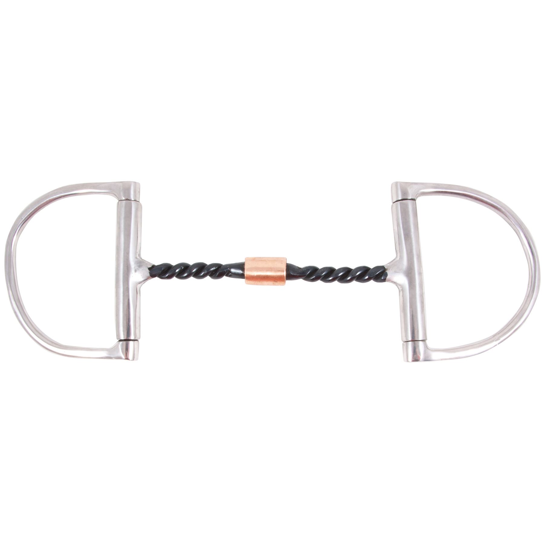 Fes Curved Twisted Wire D Ring W Roller Snaffle Bit In D