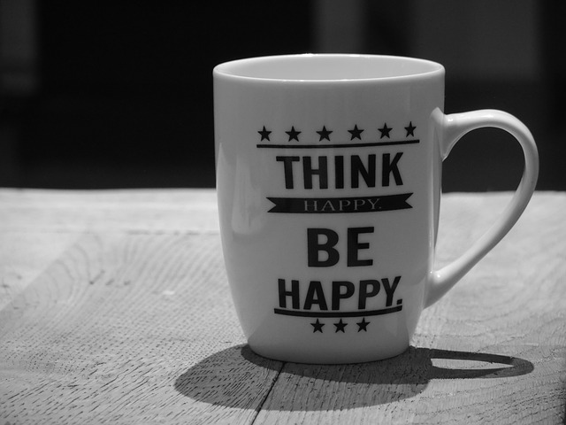 mug with positive thinking slogan