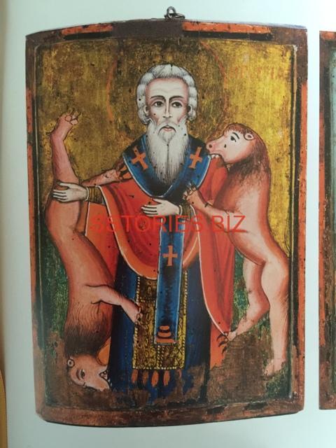 """Двустранната икона """"Св. ИгнатийБогоносец"""" е дело на Цаню Захариев-Стари от Тревненската школа.Зографът е приятел на Васил Левски, а иконата е кодирана за Дякона"""