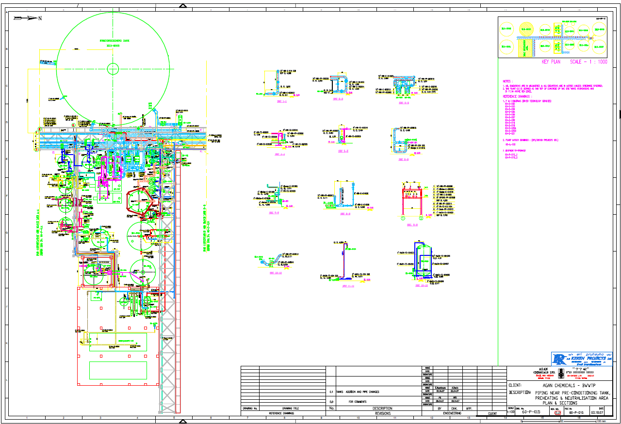 hight resolution of piping layout drawing generated using 3d plant design software