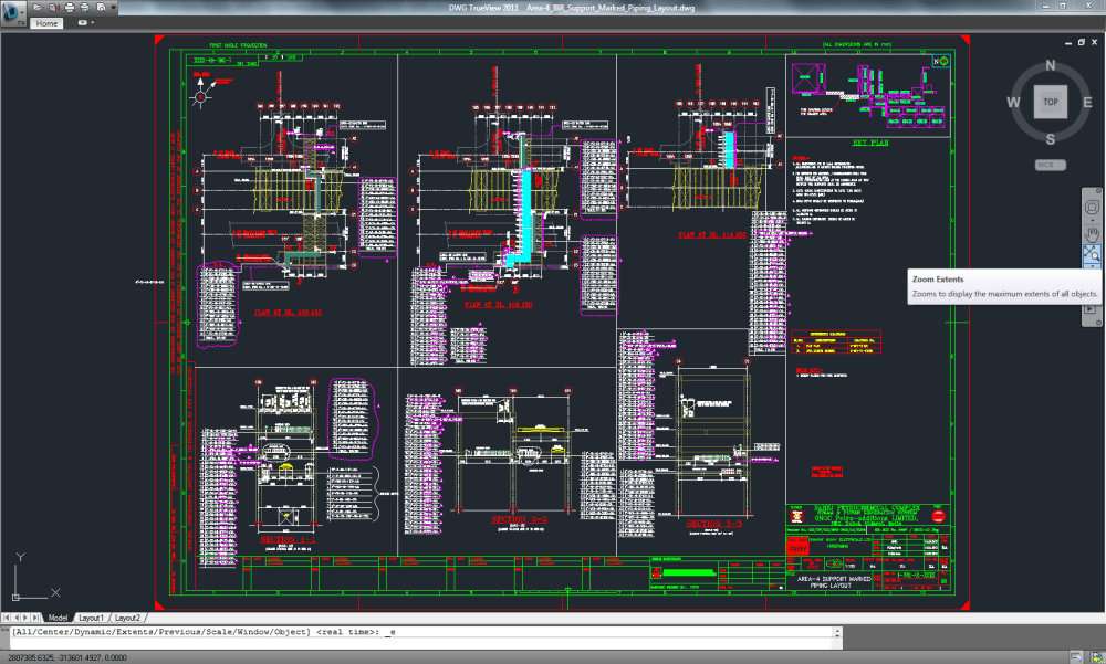 medium resolution of area wise support marked piping layout using 3d plant design software