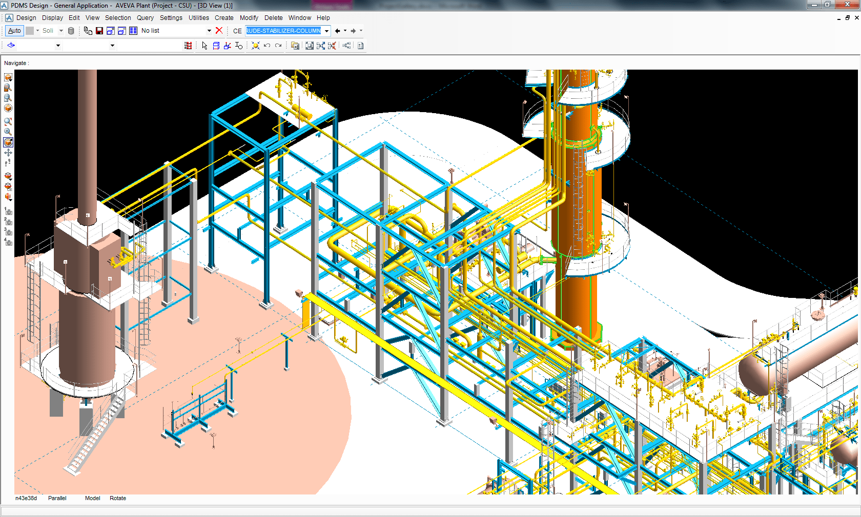 hight resolution of closer view of the crude stabilizer column with associated piping