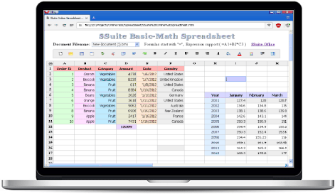Basic Math Spreadsheet, Free Online Spreadsheet Web App, SSuite ...