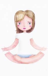 ilustración mixta chica loto