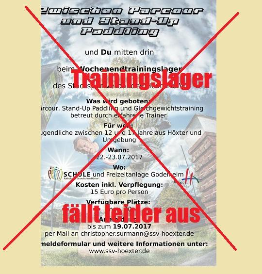 Trainingslager findet nicht statt