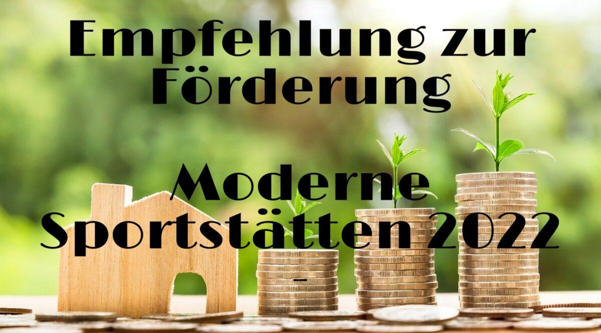 "Informationen zum Förderprogramm ""Moderne Sportstätten 2022"""