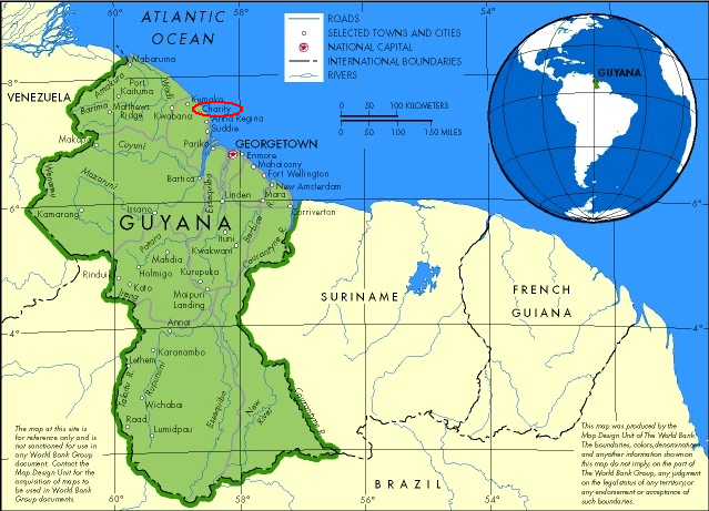 Image result for map of guyana and the equator