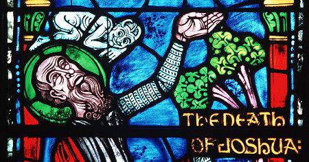 Tod Josuas (Kirchenfenster der Duke University, Durham NC, USA; hier: Detail)