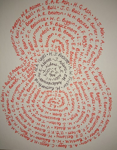 A poppy made up of names of local people who died during WW1