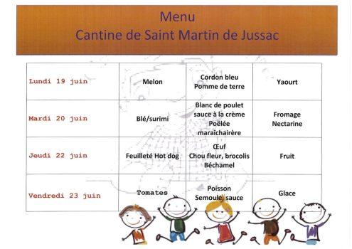 menu cantine S25