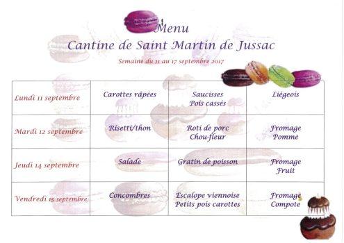 menu cantine S37