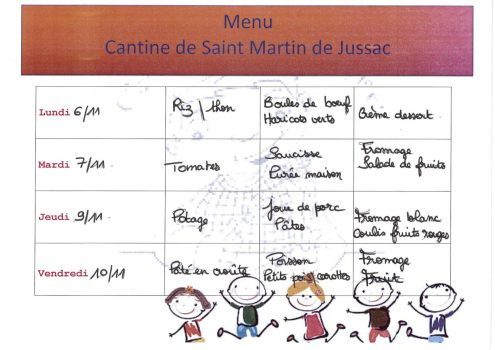 menu cantine S45