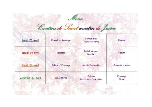 menu cantine S17