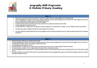 Geography Progression of Skills