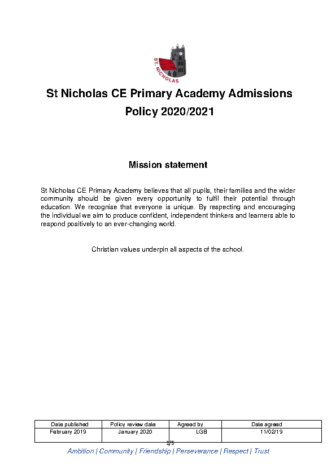 Admissions Policy 2020-21
