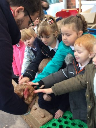 We were allowed to stroke the hen and then we washed our hands to make sure they were clean.