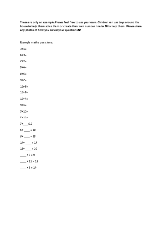 Example maths questions +