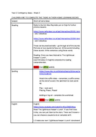Coronavirus contingency plans- Year 2 Week 3