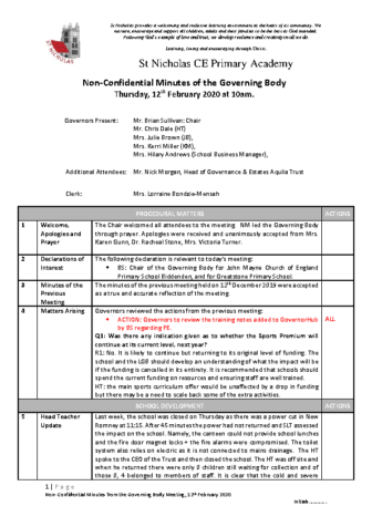 Governing Body Meeting Minutes 12/02/2020