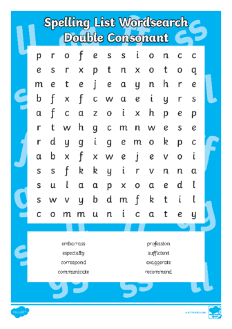 year 5-6 Spelling List Word Search Double Consonant