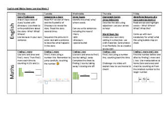 Home Learning – English and Maths Week 2