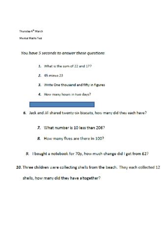 Mental Maths Questions Thursday