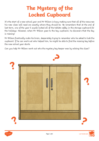 Mystery of the Locked Cupboard Place Value Maths Mystery Game