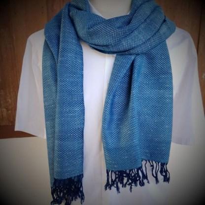 light blue scarf