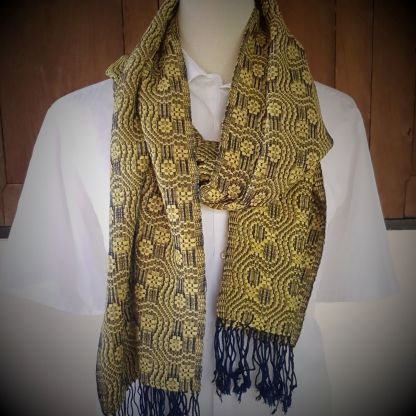 yellow with blue scarf