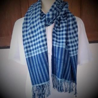 blue scarf with blocks