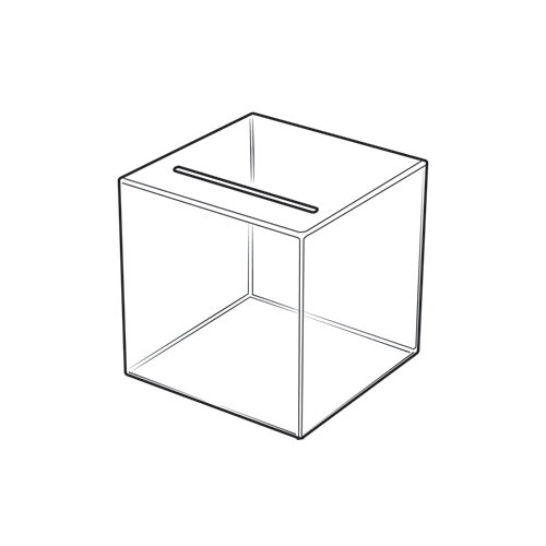 Square Medium Suggestion Box Clear Acrylic