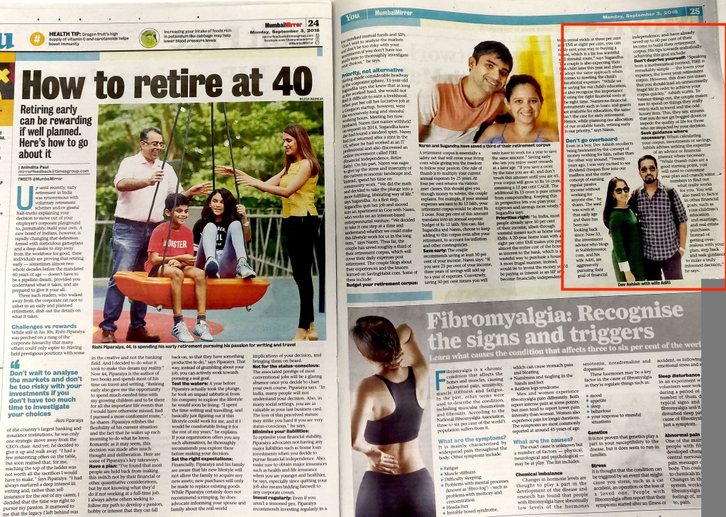 Dev Ashish Mumbai Mirror Early Retirement India
