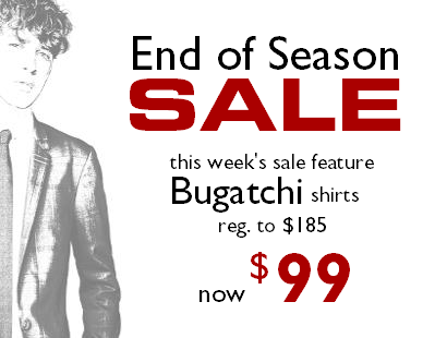 End of season sale Staccato Vancouver Bugatchi shirts