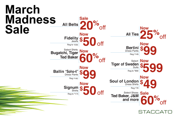 Staccato Vancouver Menswear March Madness Sale